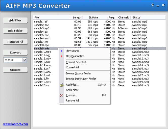 AIFF MP3 Converter Screenshot