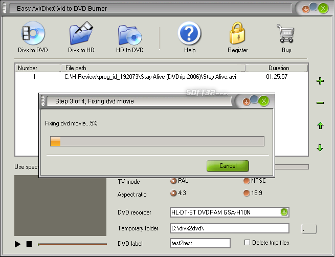 Easy Avi/Divx/Xvid to DVD Burner Screenshot 5