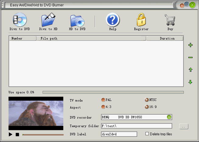 Easy Avi/Divx/Xvid to DVD Burner Screenshot