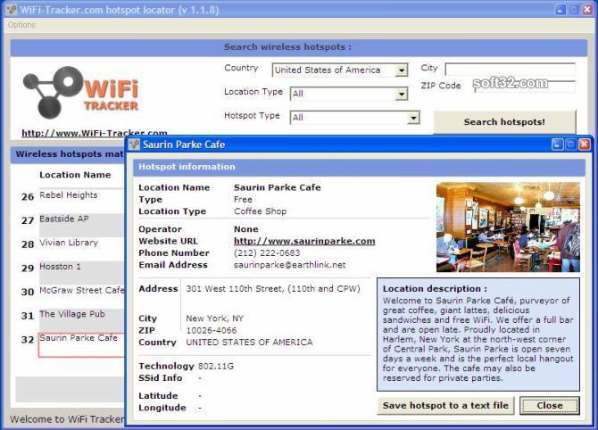 WiFi-Tracker.com HotSpot Finder Screenshot