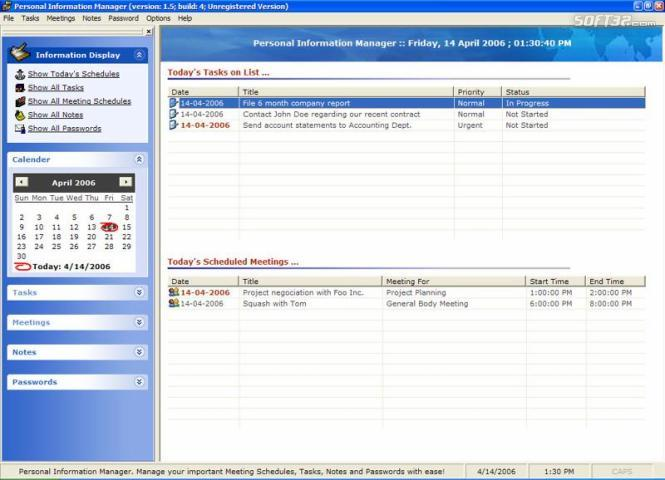 Personal Information Manager Screenshot 3