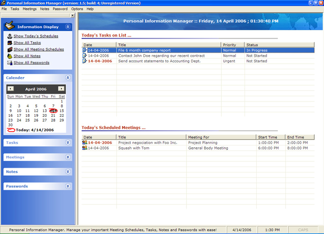 Personal Information Manager Screenshot