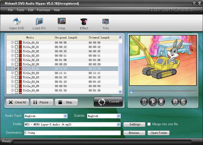 Nidesoft DVD Audio Ripper Screenshot 1