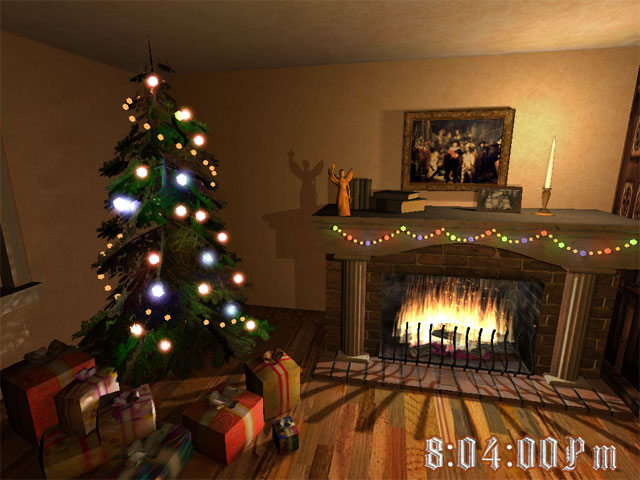 Christmas Fireplace 3D Screensaver Screenshot