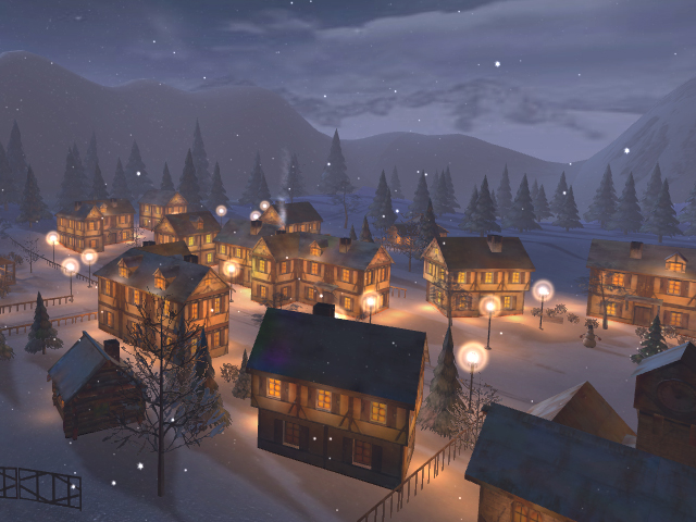 Winter Town 3D Screensaver Screenshot 1