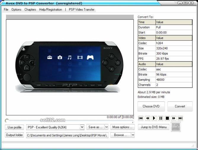 Avex DVD to PSP Converter Screenshot 3