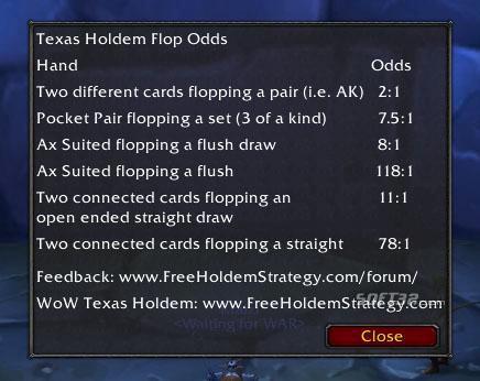 WoW Texas Holdem Flop Odds Screenshot 3