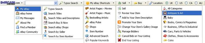 BargainChecker misspelled eBay Toolbar Screenshot 1