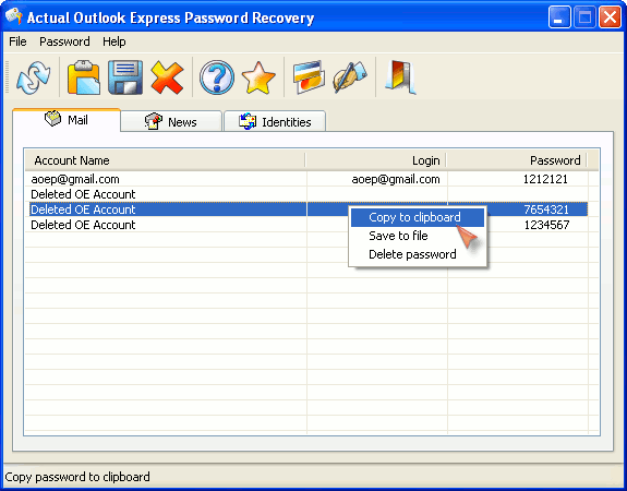 Actual Outlook Express Password Recovery Screenshot