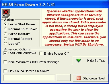 HSLAB Force Down Lite Screenshot