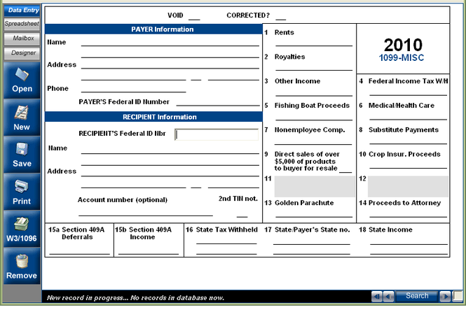 EASITax 1099 / W2 Tax Software Screenshot