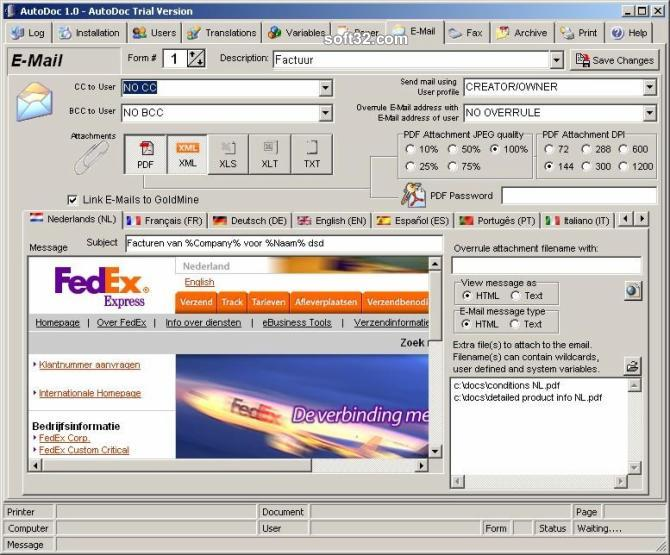 AutoDoc HSE Fax/E-Mail/SMS/Archive Screenshot 2