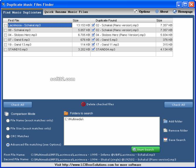 Duplicate Music Files Finder Screenshot 2