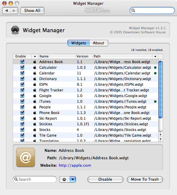 Widget Manager Screenshot