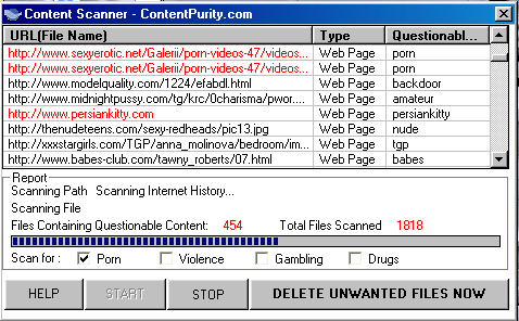 Content Scanner Screenshot