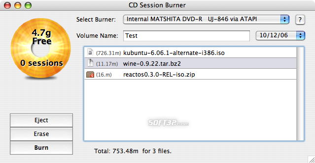 CD Session Burner Screenshot 2
