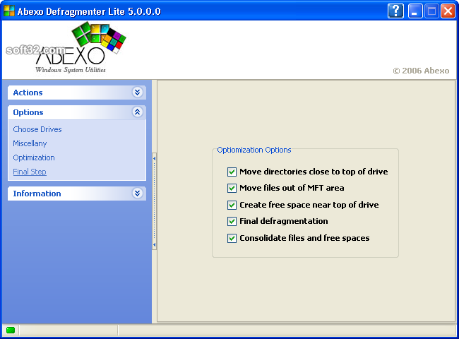 Abexo Defragmenter Lite Screenshot 3