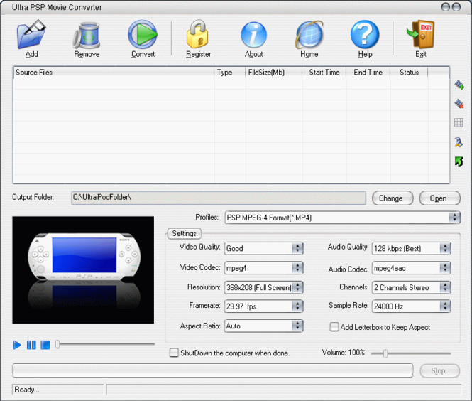 Ultra PSP Movie Converter Screenshot
