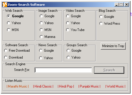 Zoom Search Software Screenshot