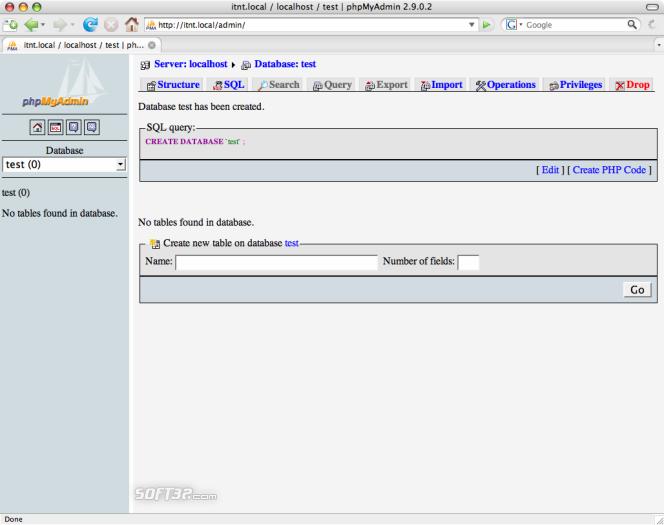 phpMyAdmin Screenshot 2