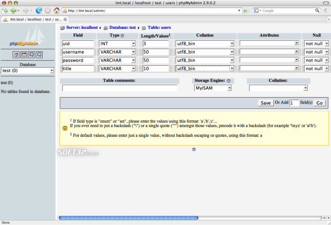 phpMyAdmin Screenshot 3