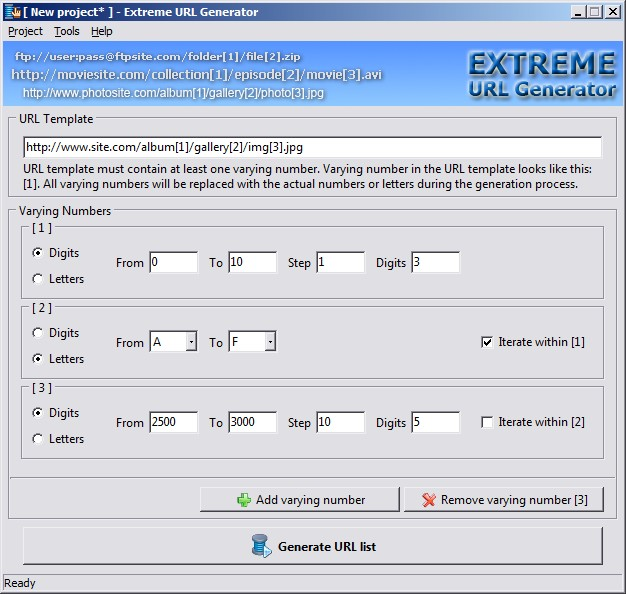 Extreme URL Generator Screenshot 1