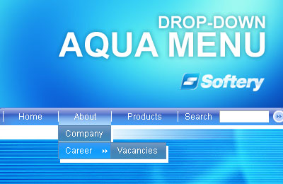 Aqua Drop-Down Flash Menu Screenshot 1