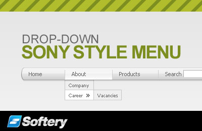 Sony Style Drop-Down Flash Menu Screenshot