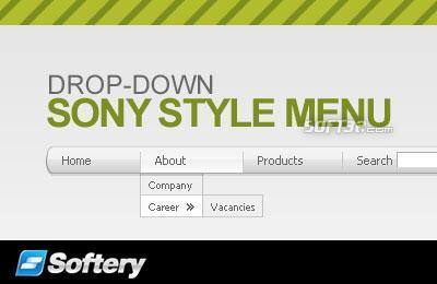 Sony Style Drop-Down Flash Menu Screenshot 3