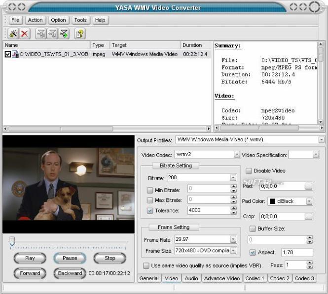 YASA WMV Video Converter Screenshot 3