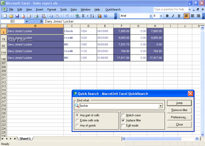 Excel Quick Search Screenshot