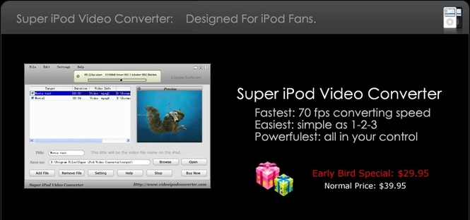 Super iPod Video Converter build 88 Screenshot 1