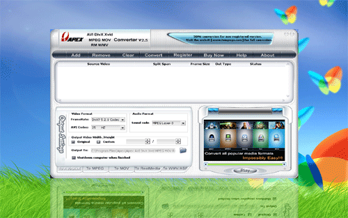 Apex AVI MPEG MOV RM WMV Converter Screenshot