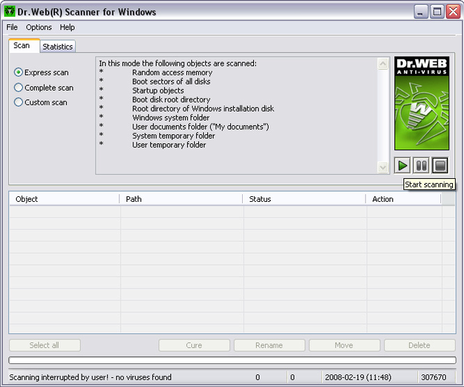 Dr.Web Anti Virus for  Windows Screenshot