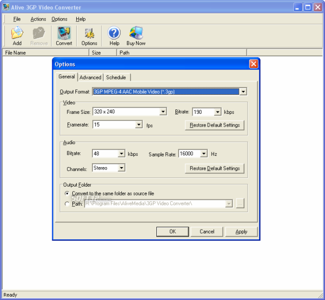 Alive 3GP Video Converter Screenshot 3