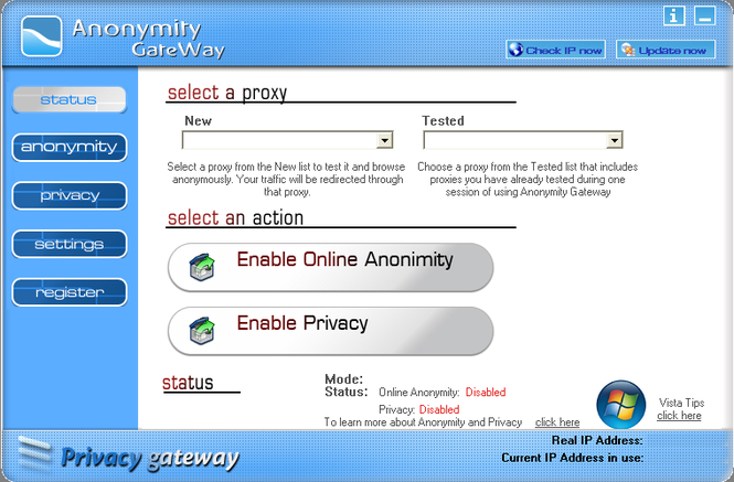 Anonymity Gateway Screenshot