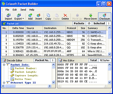 Colasoft Packet Builder Screenshot 1
