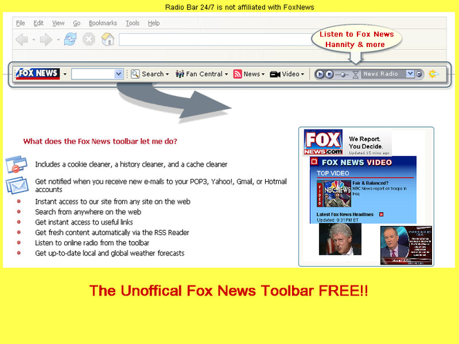 Fox News Radio Tool Bar Screenshot