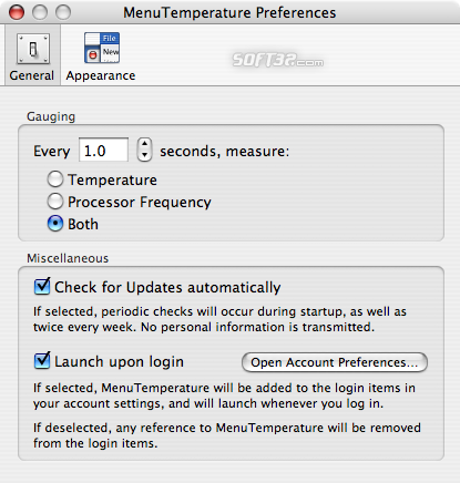 MenuTemperature Screenshot 2