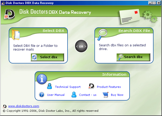 Disk Doctors DBX Data Recovery Screenshot