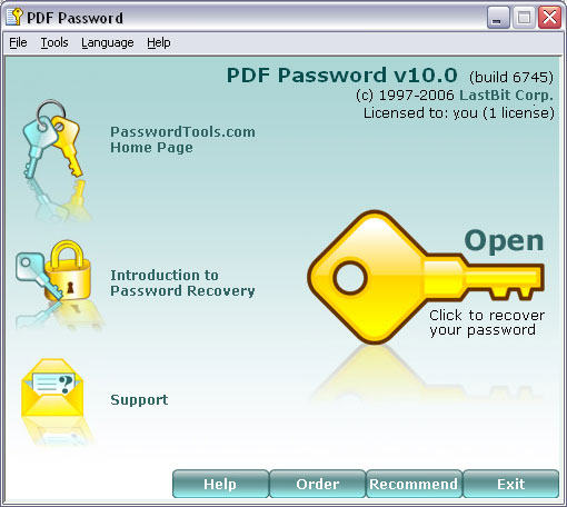 LastBit PDF Password Recovery Screenshot