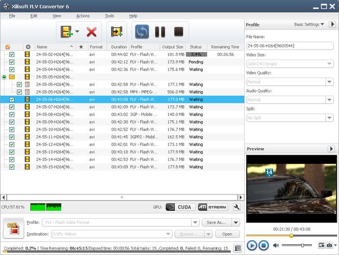 Xilisoft FLV Converter Screenshot