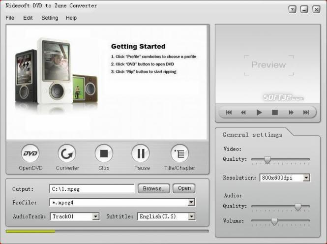 Nidesoft DVD to Zune Converter Screenshot 3