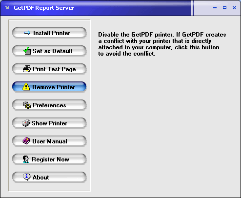 GetPDF Report Server Screenshot