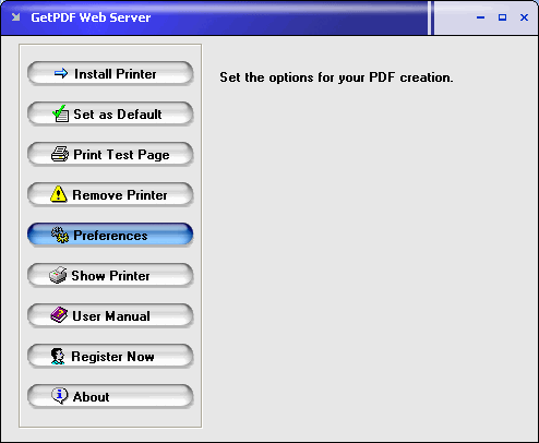 GetPDF Web Server Screenshot 1