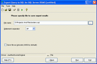 Export Query to SQL for SQL server Screenshot