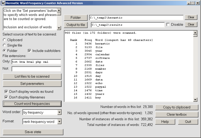 Hermetic Word Frequency Counter Advanced Screenshot 1