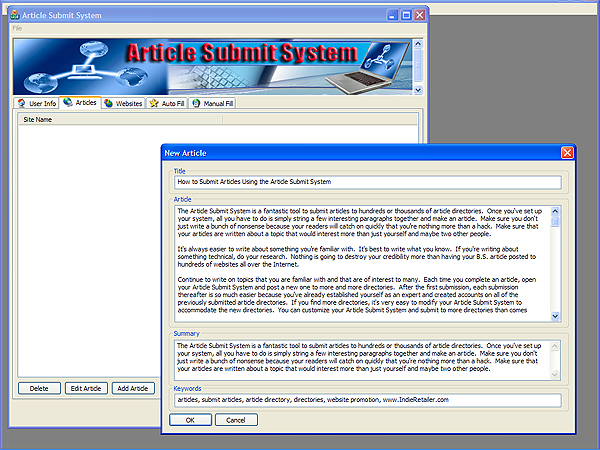 Article Submit System Screenshot 1
