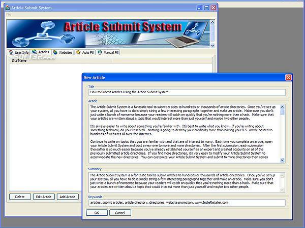 Article Submit System Screenshot 3