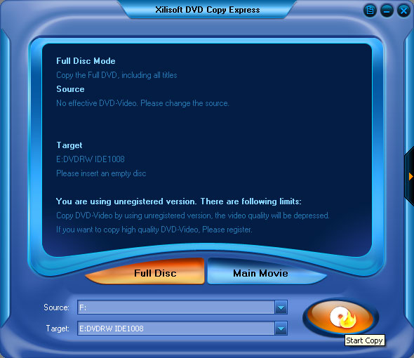 Xilisoft DVD Copy Express Screenshot 7